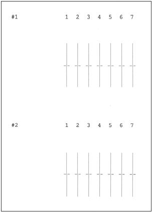 プリンターヘッドの調整パターン